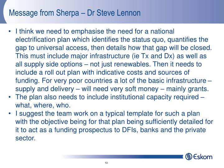 Message from Sherpa – Dr Steve Lennon