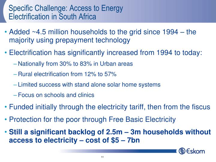 Specific Challenge: Access to Energy
