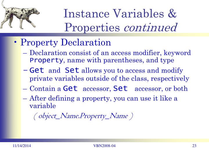 Instance Variables & Properties