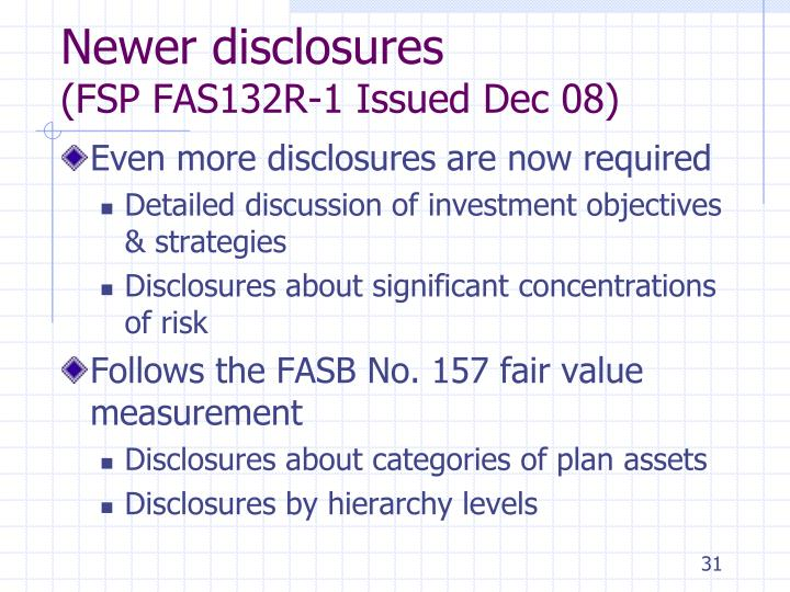 Newer disclosures