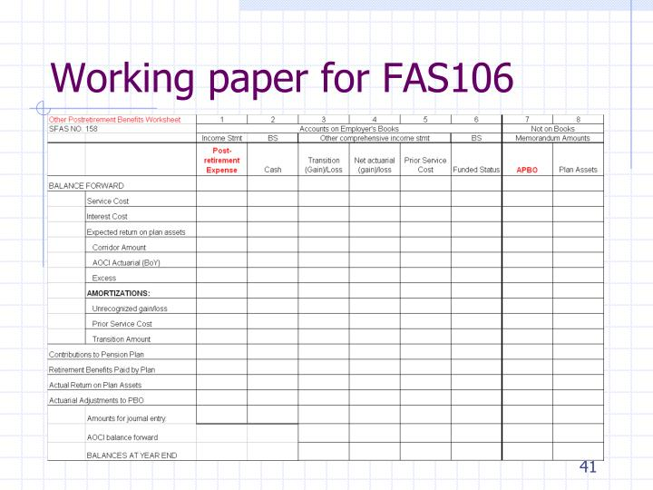 Working paper for FAS106