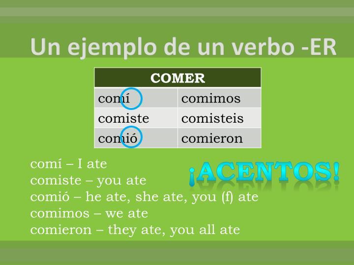 Un ejemplo de un verbo -ER