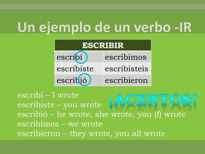 Un ejemplo de un verbo -IR