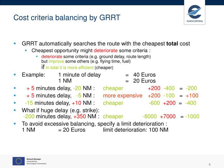 Cost criteria balancing by GRRT