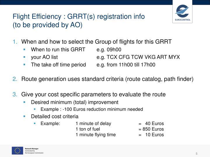Flight Efficiency : GRRT(s) registration info