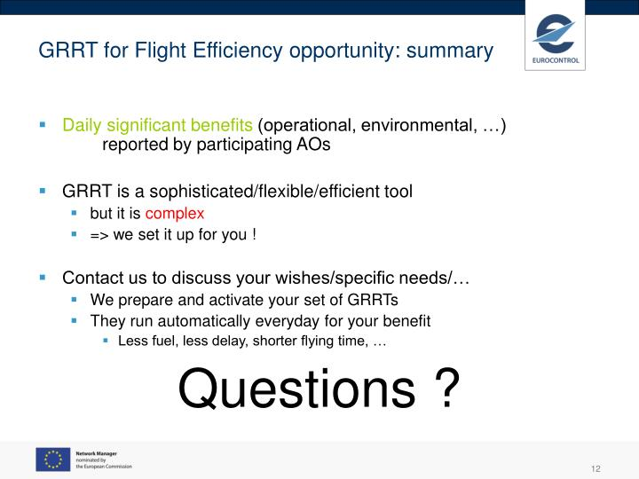 GRRT for Flight Efficiency opportunity: summary