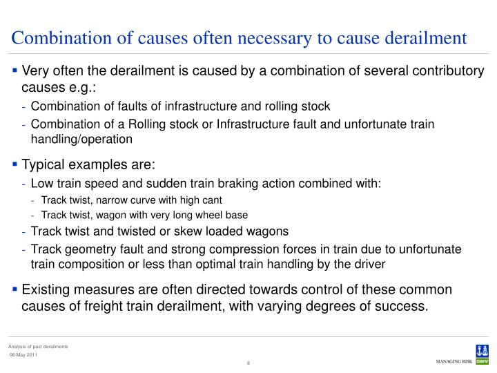 Combination of causes often necessary to cause derailment