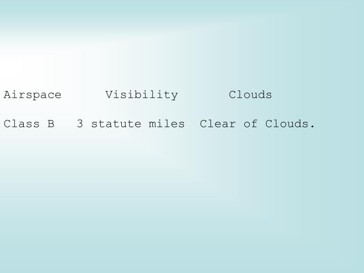 Airspace      Visibility       Clouds