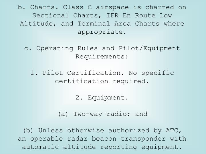 b. Charts. Class C airspace is charted on Sectional Charts, IFR En Route Low Altitude, and Terminal Area Charts where appropriate.