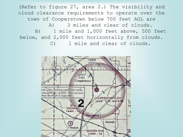 (Refer to figure 27, area 2.) The visibility and cloud clearance requirements to operate over the town of Cooperstown below 700 feet AGL are