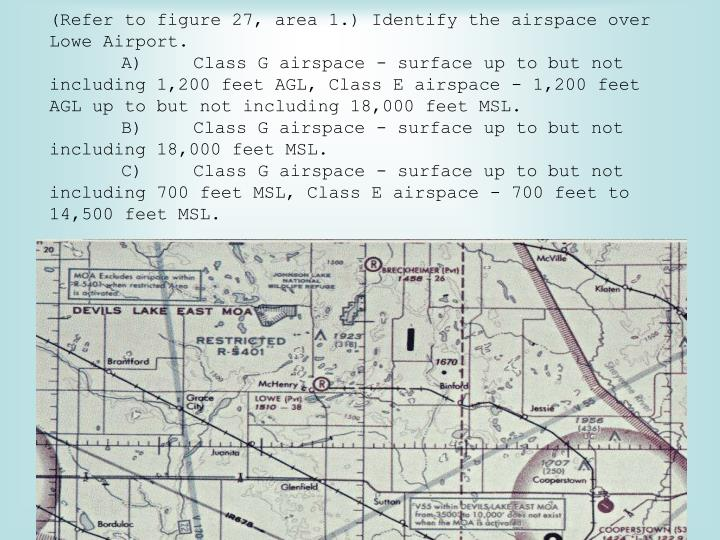 (Refer to figure 27, area 1.) Identify the airspace over Lowe Airport.