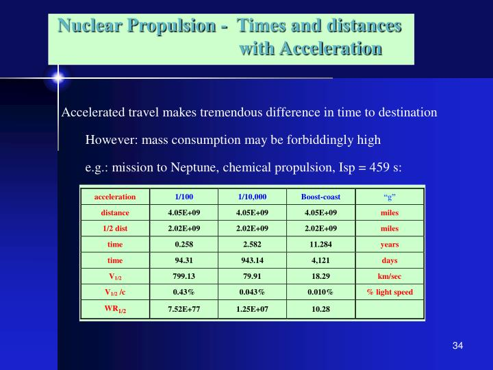 Nuclear Propulsion -  Times and distances