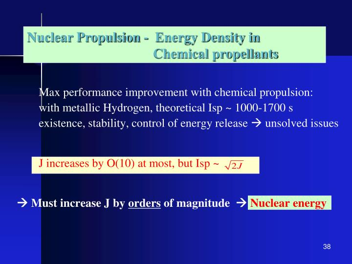 NP - Energy Density in Chemical Propulsion