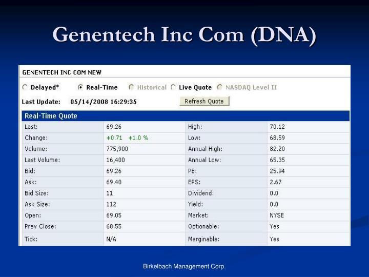 Genentech Inc Com (DNA)