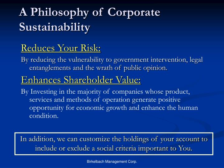 A Philosophy of Corporate Sustainability