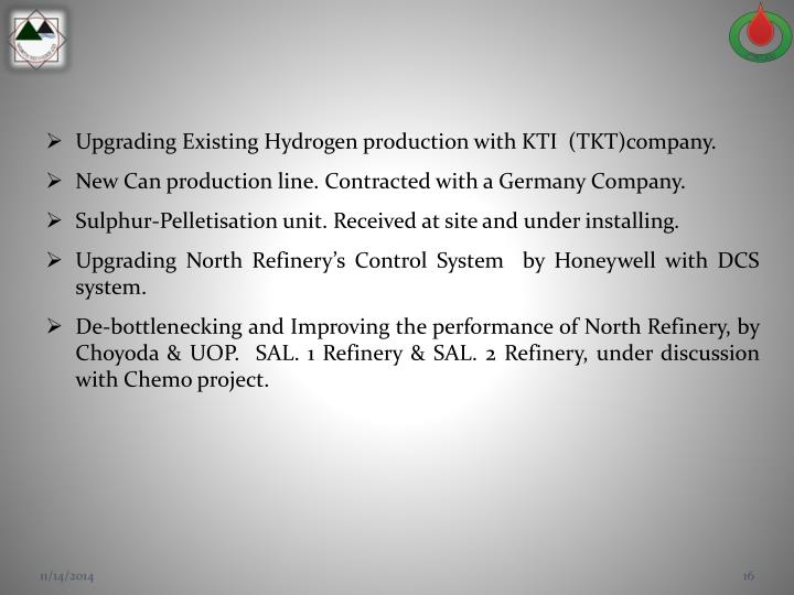 Upgrading Existing Hydrogen production with KTI