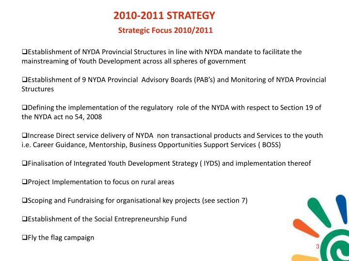 2010-2011 STRATEGY