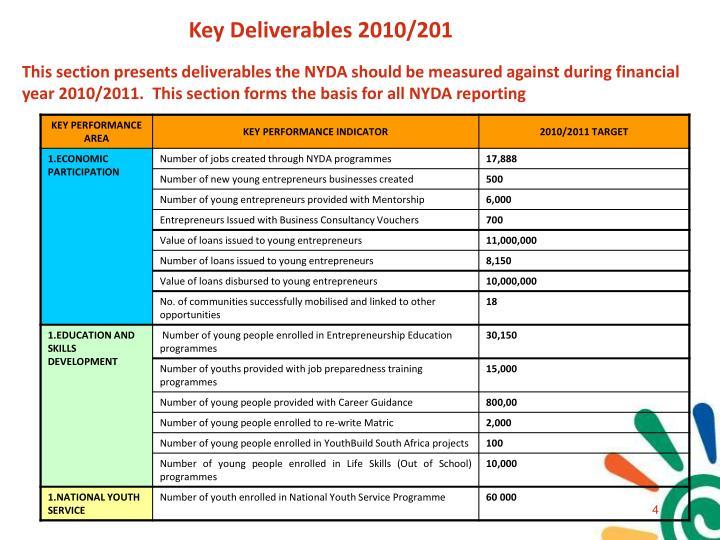 Key Deliverables 2010/201