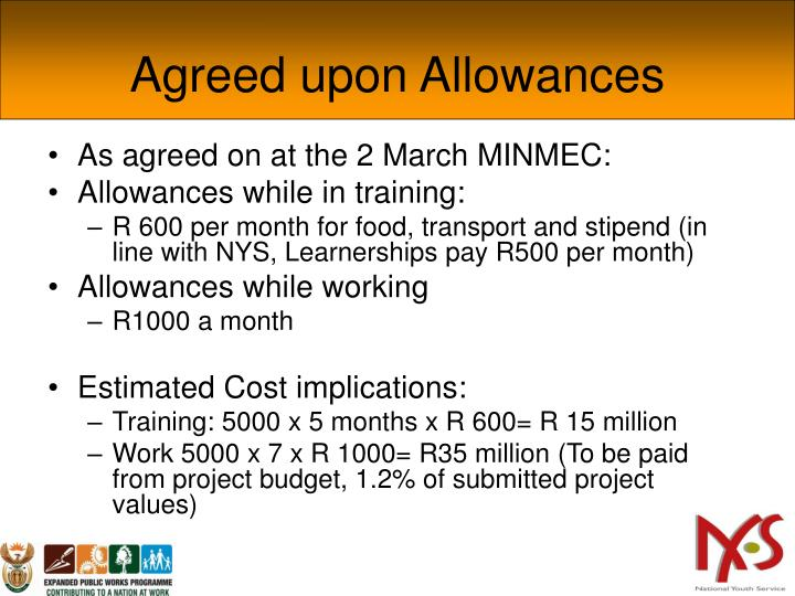 Agreed upon Allowances