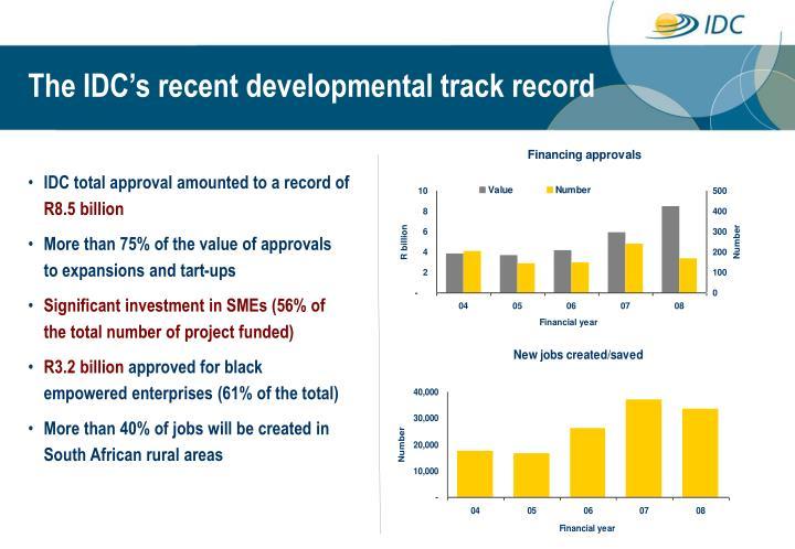 The IDC's recent developmental track record