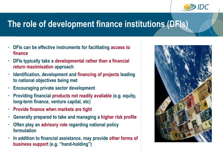 The role of development finance institutions (DFIs)