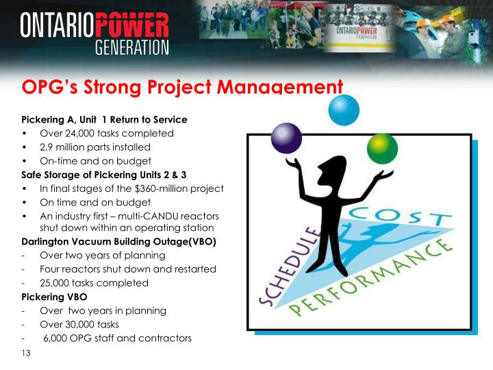 OPG's Strong Project Management