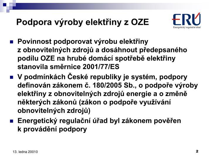 Podpora výroby elektřiny z OZE