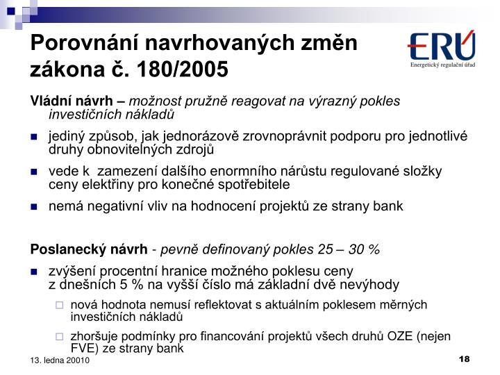 Porovnání navrhovaných změn zákona č. 180/2005