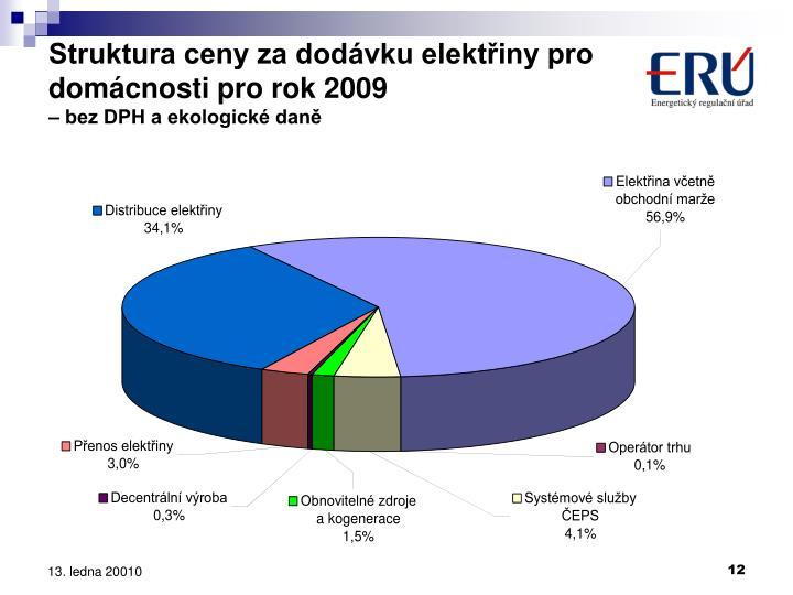Struktura ceny za dodávku elektřiny pro domácnosti pro rok 2009