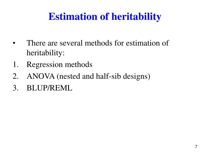 Estimation of heritability