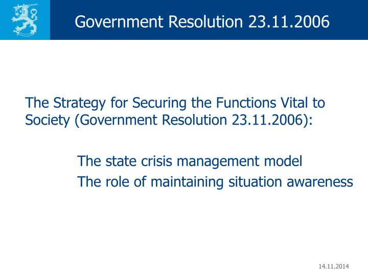 Government Resolution 23.11.2006