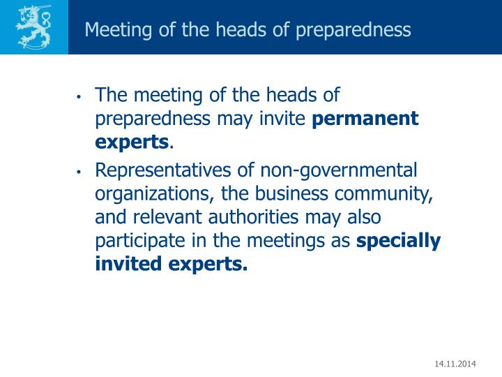 Meeting of the heads of preparedness