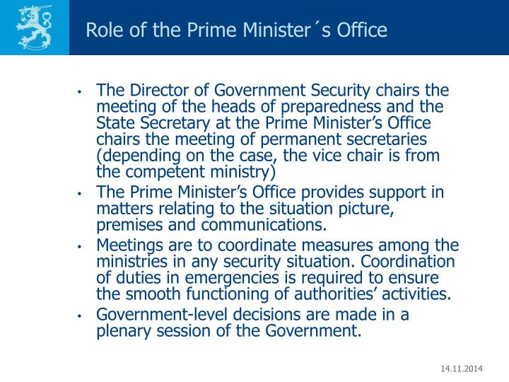 Role of the Prime Minister´s Office