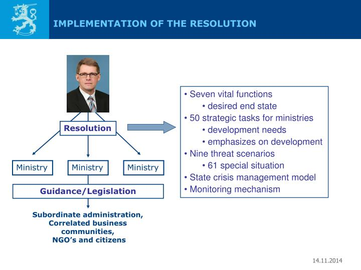 IMPLEMENTATION OF THE RESOLUTION