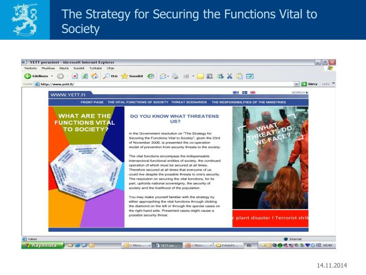 The Strategy for Securing the Functions Vital to Society