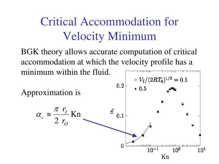 Critical Accommodation for Velocity Minimum