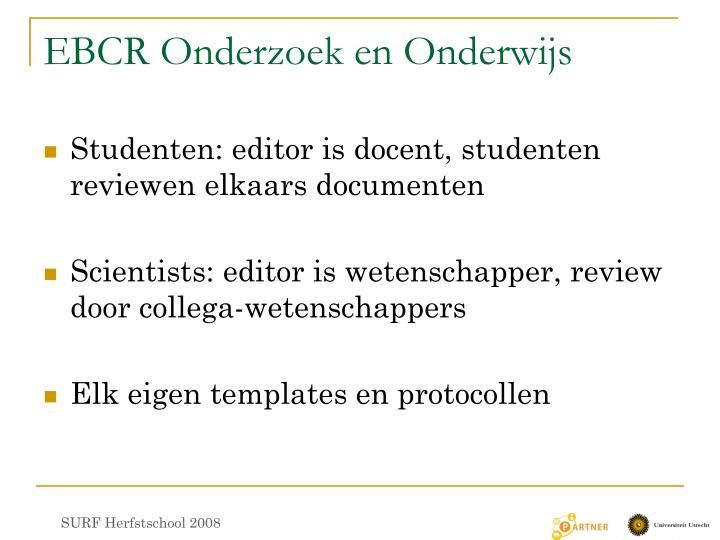 EBCR Onderzoek en Onderwijs