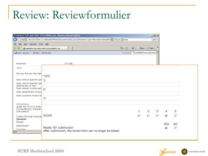 Review: Reviewformulier