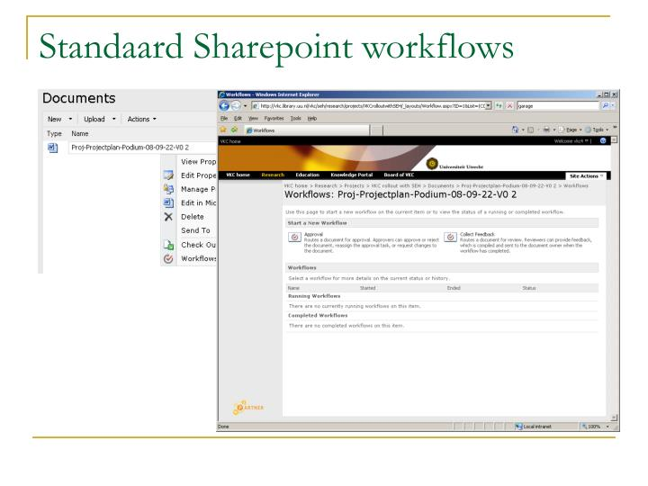 Standaard Sharepoint workflows