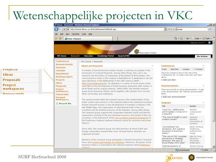 Wetenschappelijke projecten in VKC