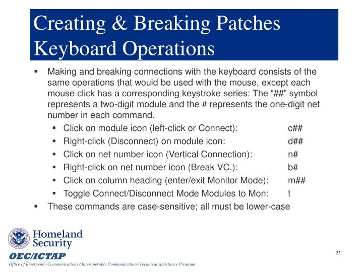 Creating & Breaking Patches Keyboard Operations