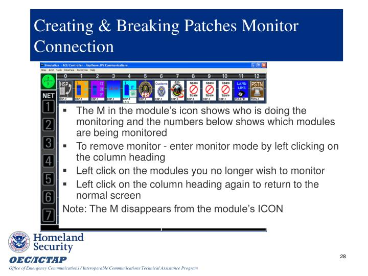 Creating & Breaking Patches Monitor Connection