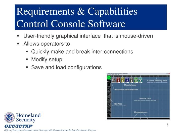 Requirements & Capabilities Control Console Software