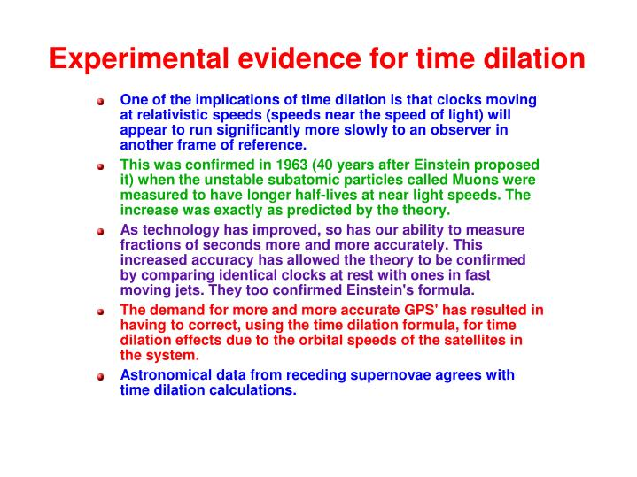 Experimental evidence for time dilation