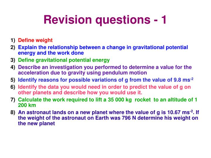 Revision questions - 1