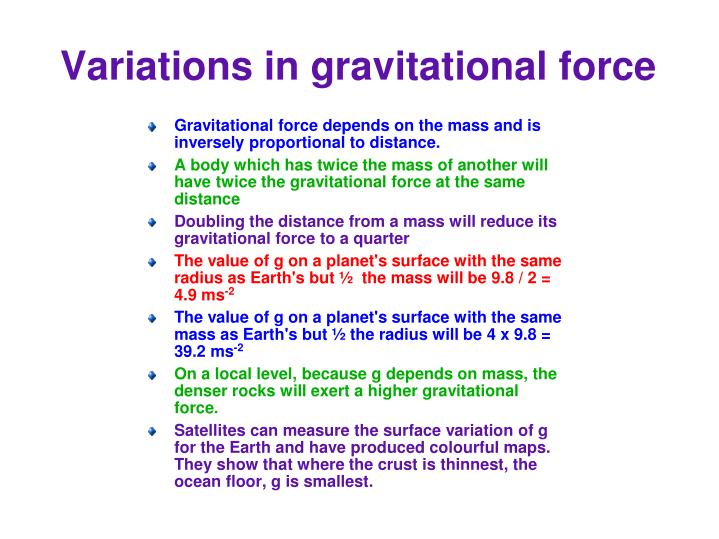 Variations in gravitational force
