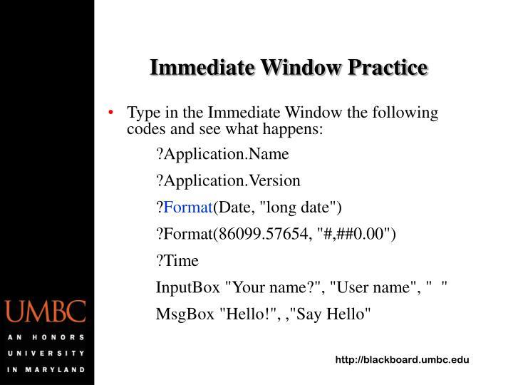 Immediate Window Practice