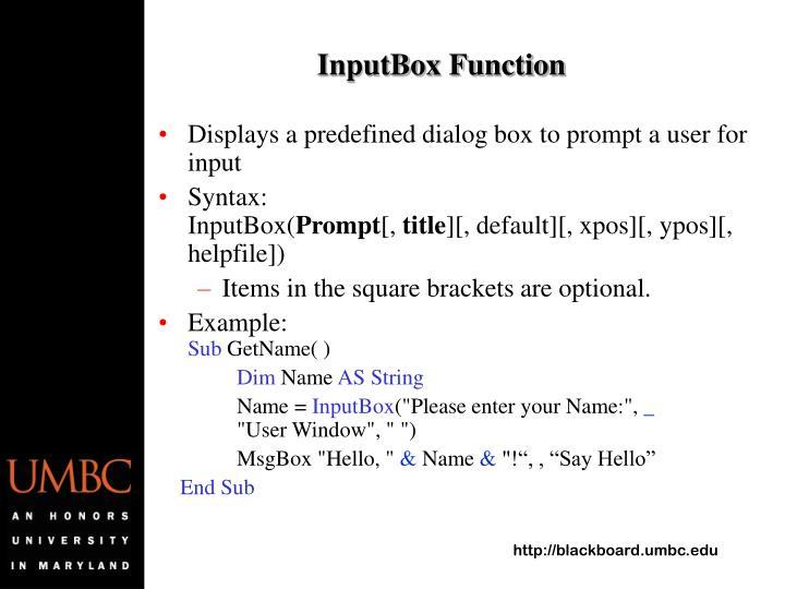 InputBox Function