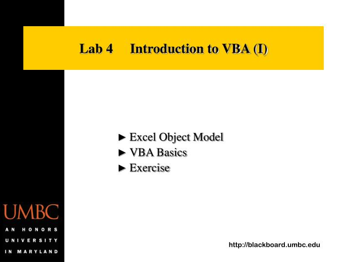 Lab 4     Introduction to VBA (I)