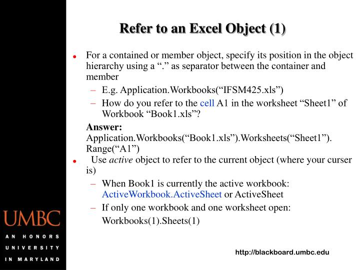 Refer to an Excel Object (1)